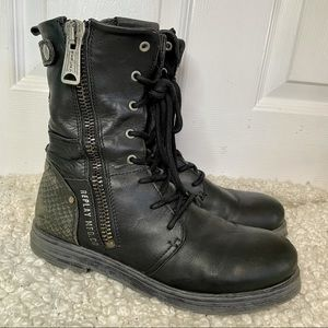Replay Black Leather Lace Up Combat Boots 9